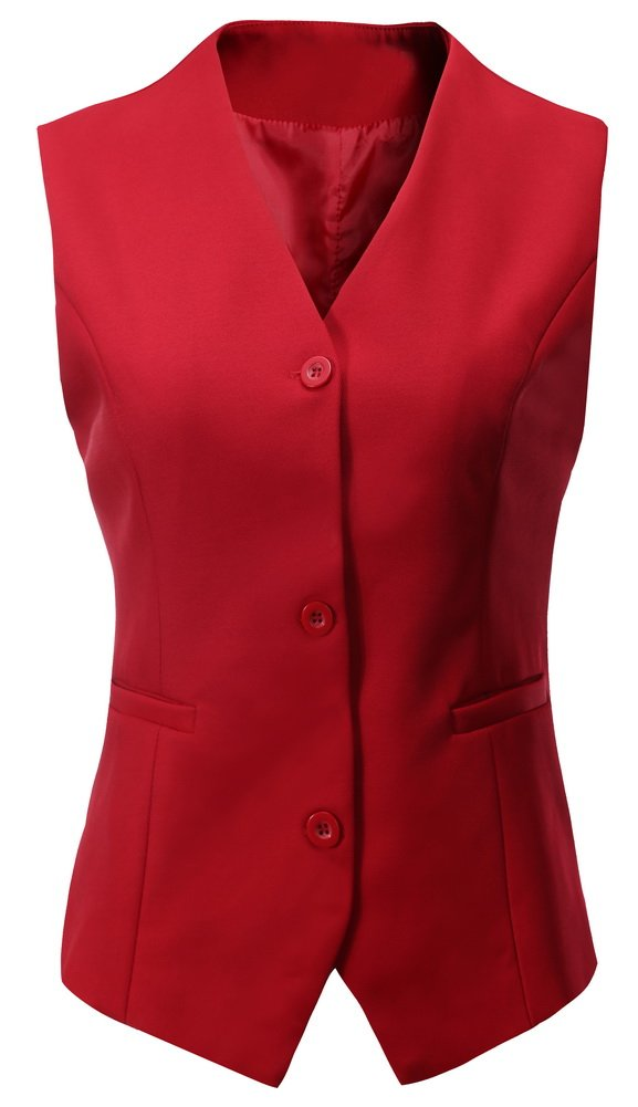 Vocni Women's Fully Lined 3 Button V-Neck Economy Dressy Suit Vest Waistcoat,Red_1,US XXL/Asia 9XL Fit Bust (46.1''-47.6'')