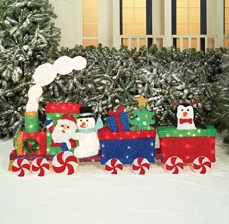 "66"" Santa & Friends Christmas Train Sculpture Outdoor Lawn Yard Art  Decoration Seasonal Display - Amazon.com : 66"