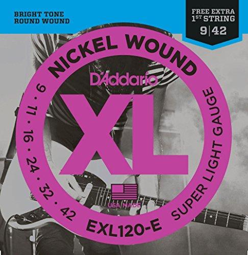 D'Addario EXL120-E Bonus Pack: Super Light Electric Guitar Strings with Bonus High E String ()