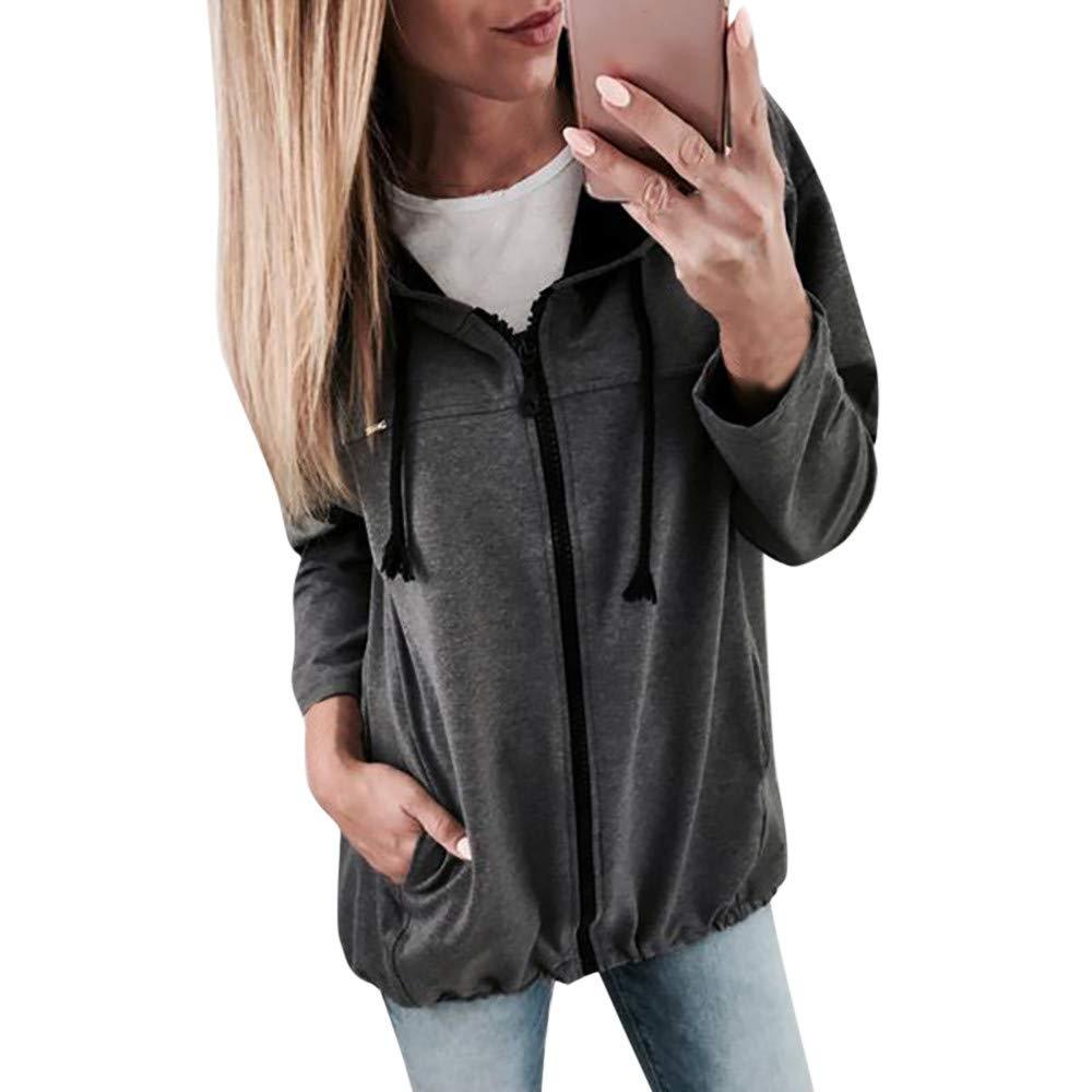 Full Zip Hoodie, Clearance! Duseedik Fashion Women Zipper Long Sleeve Sweatshirt Coat Outwear Jacket Overcoat