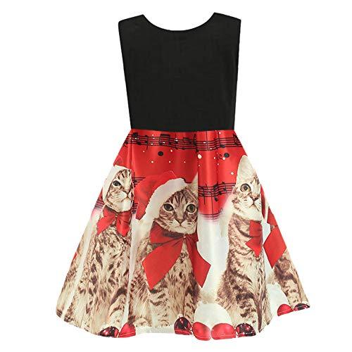 Sunhusing Toddler Baby Girls Cartoon Kitten Musical Notes Printed Princess Dress Christmas Sleeveless Gown Outfits