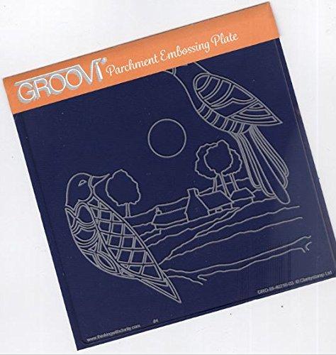 - Groovi Parchment Embossing Plate - Birds & Landscape A5 - Laser Etched Acrylic for Parchment Craft