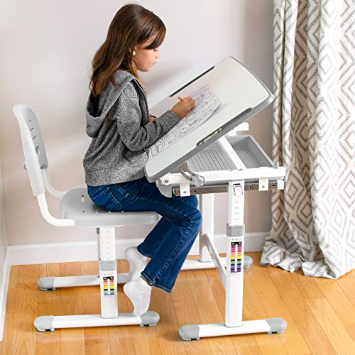 51vsbVQp7YL - VIVO Height Adjustable Children's Desk and Chair Set, Grey