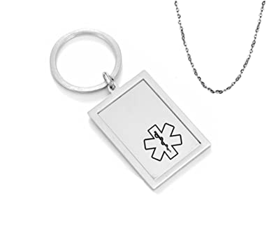 Lf Personalized Medical Alert Keychains Stainless Steel Name Ice