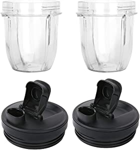 joystar 2Packs Replacement 32OZ Cups With Spout Lids,950ML(32oz) Measuring Scale Cup Mug, FIT FOR Nutri Ninja Pro and Nutri Ninja Auto IQ Series Blenders (2, 27)