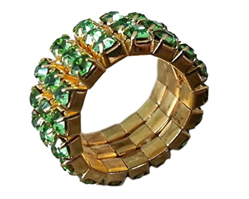 Stone Gold Ring Multi (Pashal Three Row Multi Stone Adjustable Stretch Scallop Setting Stretch Elastic Cocktail Ring by (Gold - Light Green))