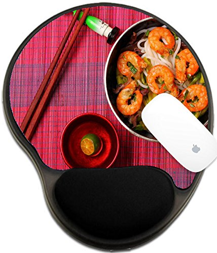 Luxlady Mousepad wrist protected Mouse Pads/Mat with wrist support design IMAGE ID: 40170778 Vietnamese shrimp and rice noodles soup pho served on a bamboo place mat Stand Pho