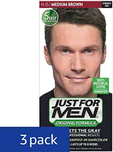 Just For Men Original Formula Men's Hair Color, Medium Brown (Pack of 3)