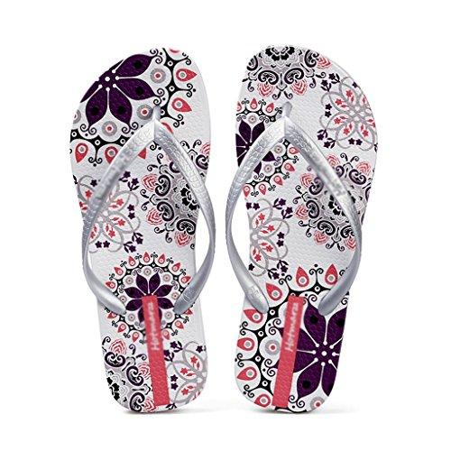 Blanc Plat Femme Sandales Blanc couleur Slip 41 Pantoufles Chaussures Femmes Taille Été De Plage wgqp4naO4t