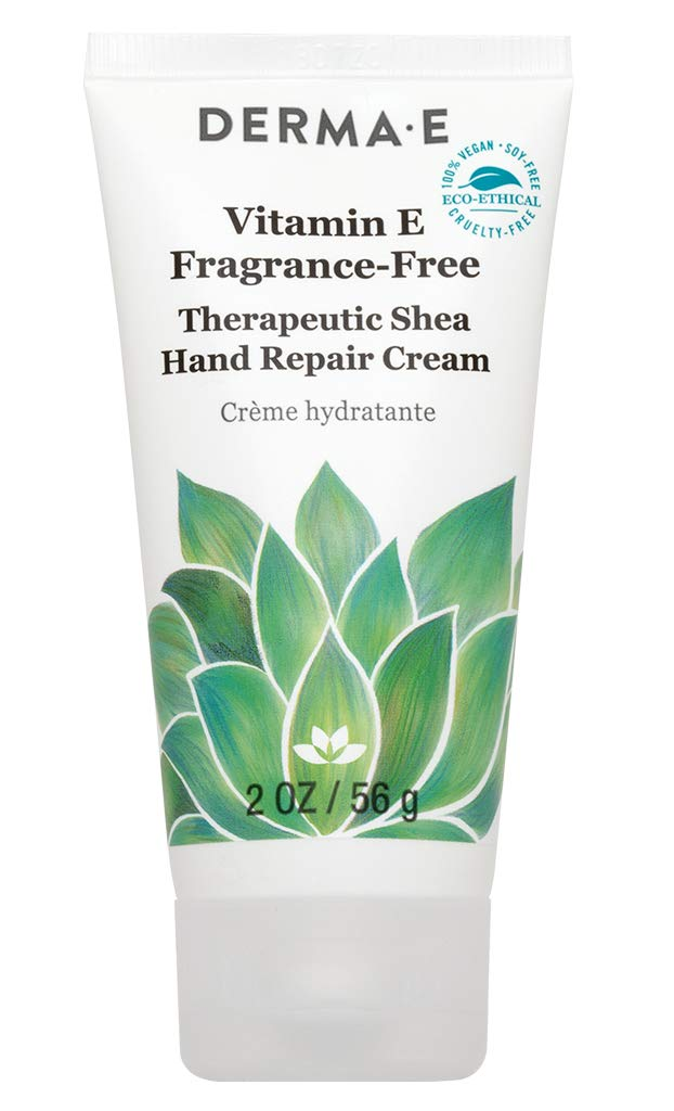 DERMA E Vitamin E Fragrance-Free, Therapeutic Moisture Shea Hand Cream, 2 oz