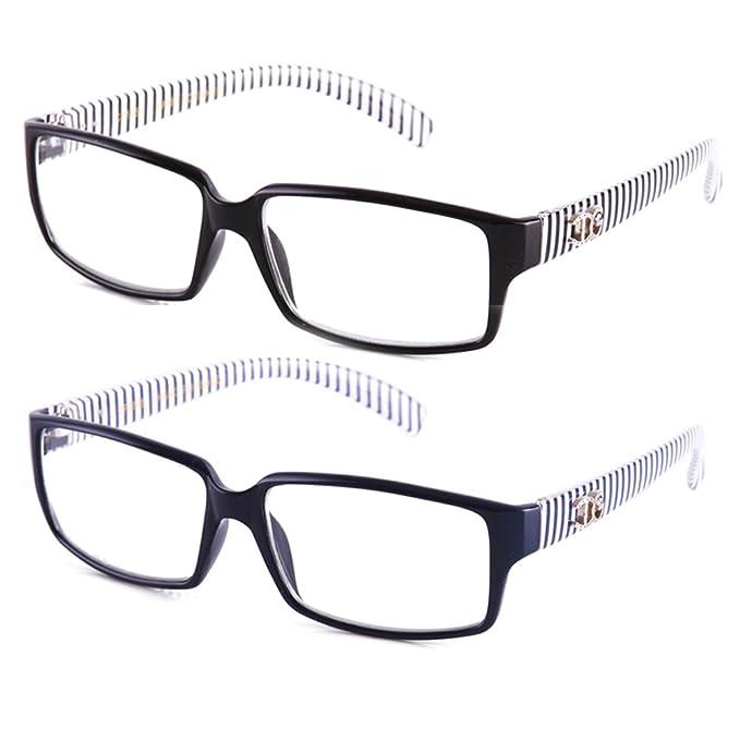 baa189d31013 Amazon.com  Newbee Fashion - IG Unisex Black   White Striped Transparent  Temple Retangle Frame Clear Lens Eye Glasses  Clothing