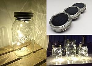 Vermont Home & Garden - 3 Pack Mason Jar Solar Lights Screw on Silver Lids - Warm Soft White Light - Jars NOT included