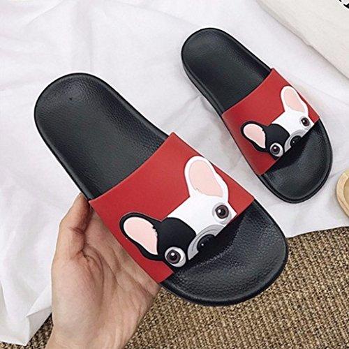Cute Beach Zapatos Previenen Zoucy Slide Cartoon Slipper Planos Fashion Dog Rojo Slippery TxdOwq