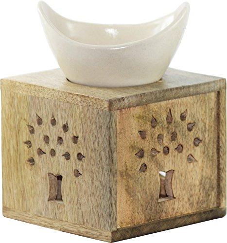 edivine aroma difusor/cuenco y caja de madera/aceite esencial quemador/té luz vela titular/Aromaterapia quemador de aceite de cerámica eDivene
