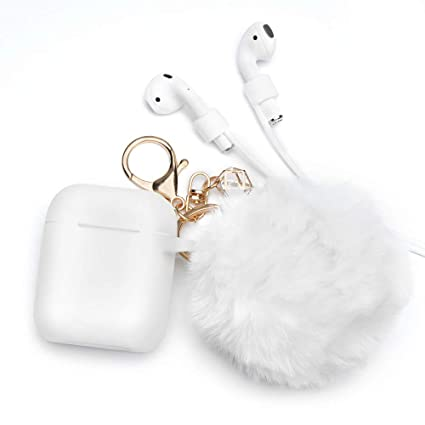 half off e6f41 a0d4a Airpods Case - BlUEWIND Drop Proof Air Pods Protective Pom Pom Keychain  Case Cover Silicone Skin for Apple Airpods 2 & 1 Charging Case, Cute Fur  Ball ...