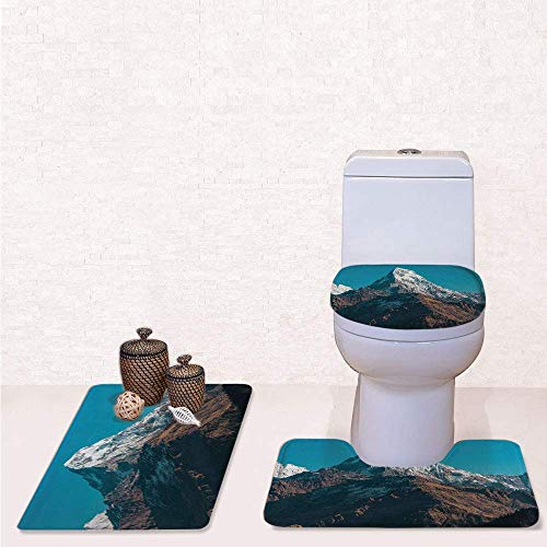 Himalayan Rectangle Rug - Print 3 Pcss Bathroom Rug Set Contour Mat Toilet Seat Cover,Photo of Himalayan Mountains Snowy Peak Nepal South Asian Nature Landscape Photo with White Blue Brown,Decorate Bathroom,Entrance Door,ki