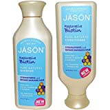JASON All Natural Organic Biotin Shampoo and Conditioner For Hair Growth and Stopping Hair Loss With Aloe Vera, Ginseng and Chamomile, Paraben Free, Sulfate Free, Vegan, Gluten Free, 16 fl. oz. each