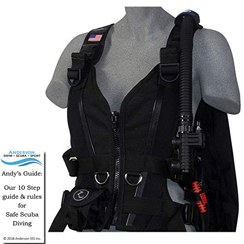 Zeagle Zena BCD Black Size Medium - Womens Buoyancy Compensator Ripcord Weight System Twin Waist Hip Band Bundle Andersons Scuba Safety Guide ()