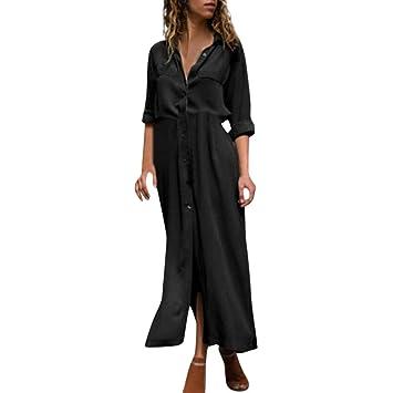 Fuxitoggo Vestido Largo Holgado con Botones divididos en la Cintura Alta para Mujer (Color : Negro, tamaño : XX-Large): Amazon.es: Hogar