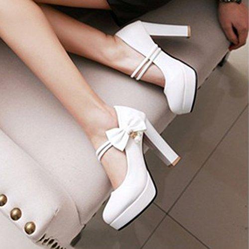 Aisun Womens Elegant Bowknot Dressy Round Toe Platform Chunky High Heels Slip On Pumps Shoes White YTl9fADNo