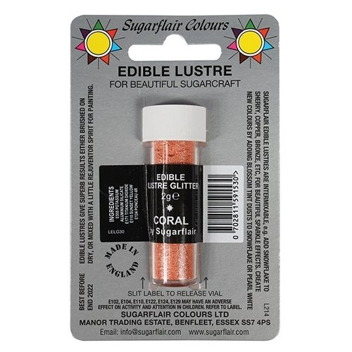 30 x Sugarflair CORAL Edible Lustre Glitter Dust for Sugarcraft Cake Decorating