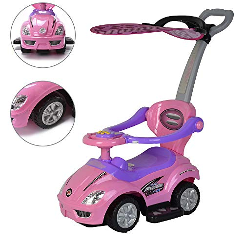ChromeWheels 3 in 1 Ride on Toys Pushing Car with Removable Sun Visor,Mega Car for Toddler Wagon Handle Stroller,Color Pink -