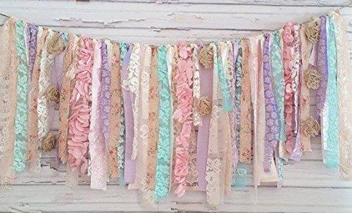 Girl Shabby Chic Garland Rag Tie Banner : ~ Photo Shoot ~ Vintage ~ Wedding Decor ~ Nursery ~ Bridal Shower ~ Gender Reveal Parties ~ Decorations ~ Photo Props ~ Banner ~ Wall Decor! (4 FEET WIDE)