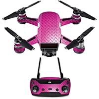 Skin for DJI Spark Mini Drone Combo - Pink Diamond Plate| MightySkins Protective, Durable, and Unique Vinyl Decal wrap cover | Easy To Apply, Remove, and Change Styles | Made in the USA