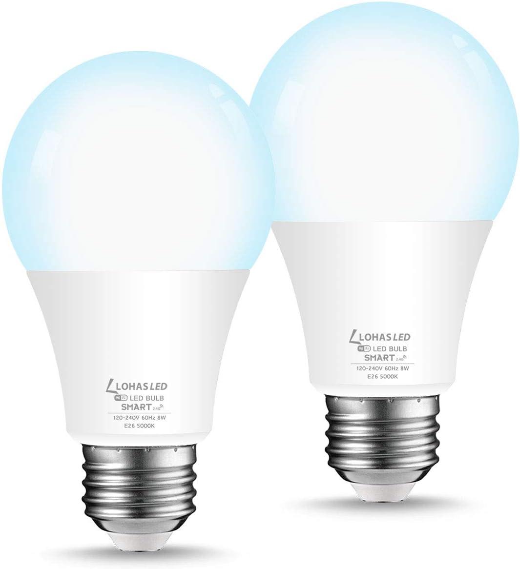 LOHAS Smart Light Bulb, Dimmable A19 LED Bulb 8W 50W Equivalent , E26 Base WiFi Bulb, Daylight White 5000K Smart LED Light Bulbs Works with Siri, Alexa, Google Home, 720LM, No Hub Required, 2 Pack