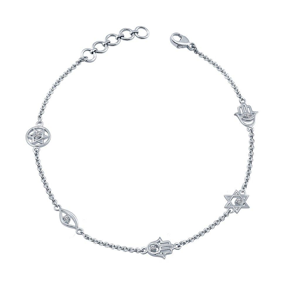 IJ I2-I3 La Joya 0.10ct Round White Diamond Sterling Silver Hamsa Evil Eye Jewish Star Charm Link Diamond Bolo Bracelet Easter Gift for Women Girls Teens