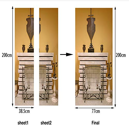 QiZhan541 European Fireplace Door Sticker Waterproof Removable DIY Mural Poster Window Door Stickers Art Decals Decor 77×200cm