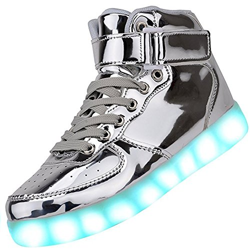 Kids High Top USB Charging LED Shoes Flashing Fashion Sneakers yin31