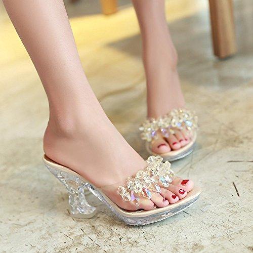 804bed53b40 Clear Sandals Platform Pumps High Heels Crystal Sparkling Diamonds ...