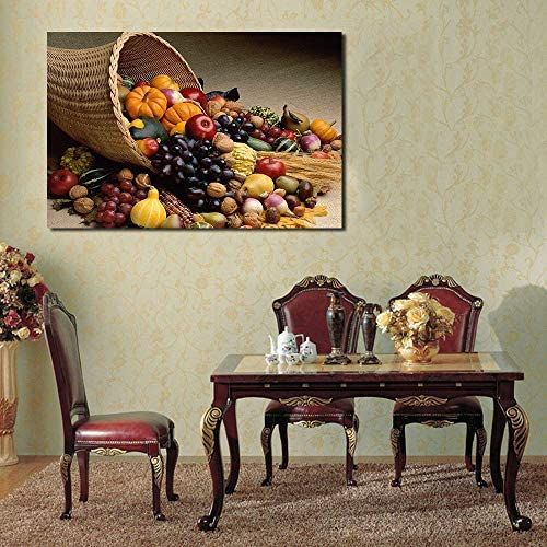 果物と野菜パーティー壁写真用リビングルームキャンバスアート家の装飾現代油絵50×70センチなしフレーム