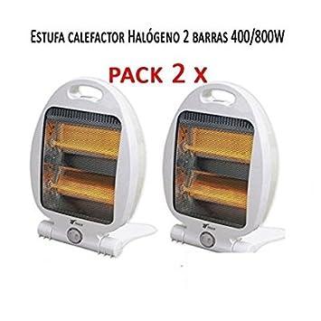 Calefactor Estufa 2 tubos de cuarzo 800W. Calefactor Calentador Radiador Halogeno Calor hogar (Pack de 2 calefactores): Amazon.es: Electrónica