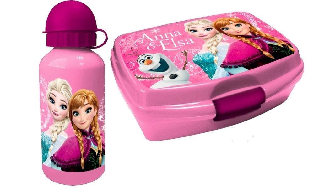 B ELSA und Anna Alu Trinkflasche und Brotbox Set Geschenkset Frozen Brotzeitdose mit Flasche aus Aluminium Pausenset für Kindergarten, Schule und Freizeit mit Motiven der Eiskönigin