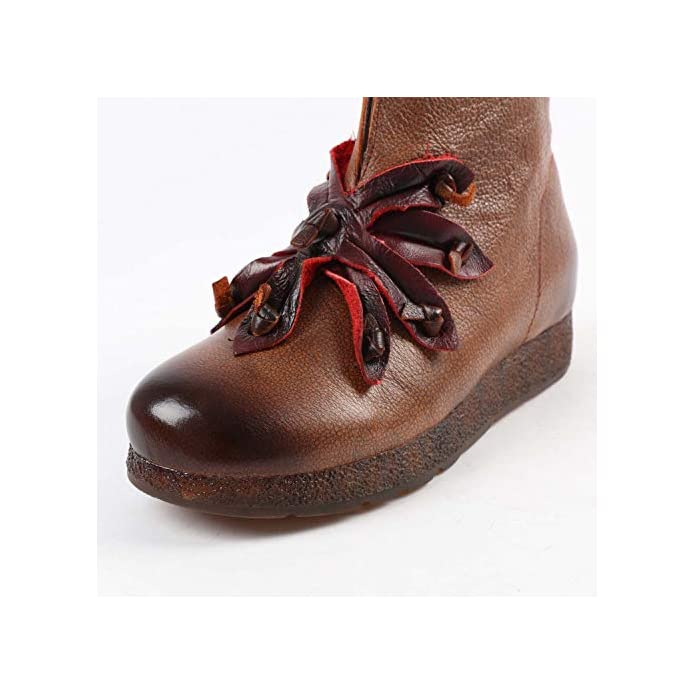 Shoe House Stivali Donna In Pelle Vintage Fiore Morbido E Confortevole Tacco Basso Nazionale Stile Signore Stivaletti