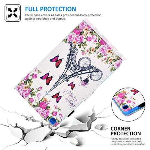 Case for Galaxy Tab A 8.0 inch T290, Dteck Ultra Slim Lightweight Multiple Angle Stand Full Protective Case with Card Holder for Samsung Galaxy Tab A 8.0 2019 Release T290 T295 T297, Flower Tower