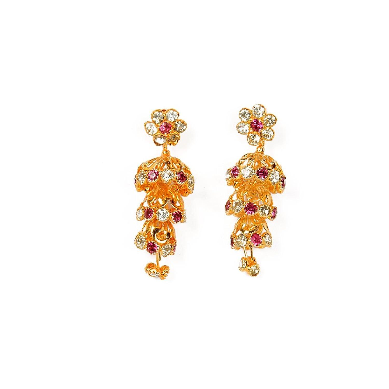 Buy Jewbang whitePinkstones 3-Step Jhumka Earrings for Women ...
