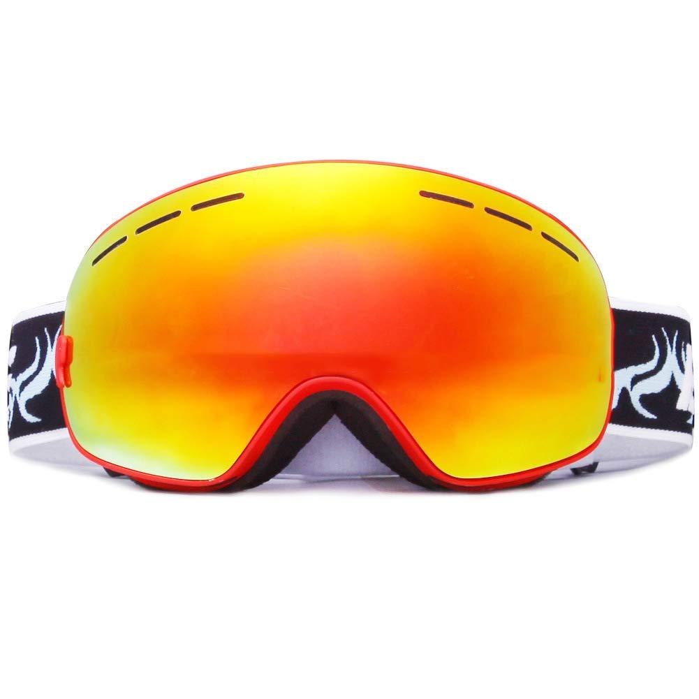 スキーゴーグル、スノーボードゴーグル、アンチフォグUVプロテクション、男性用スキーゴーグル、女性用スキーゴーグル (色 : 赤) 赤