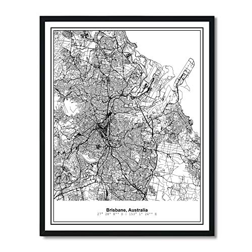 (Susie Arts 11X14 Unframed Brisbane Australia Metropolitan City View Abstract Street Map Art Print Poster Wall Decor V345)