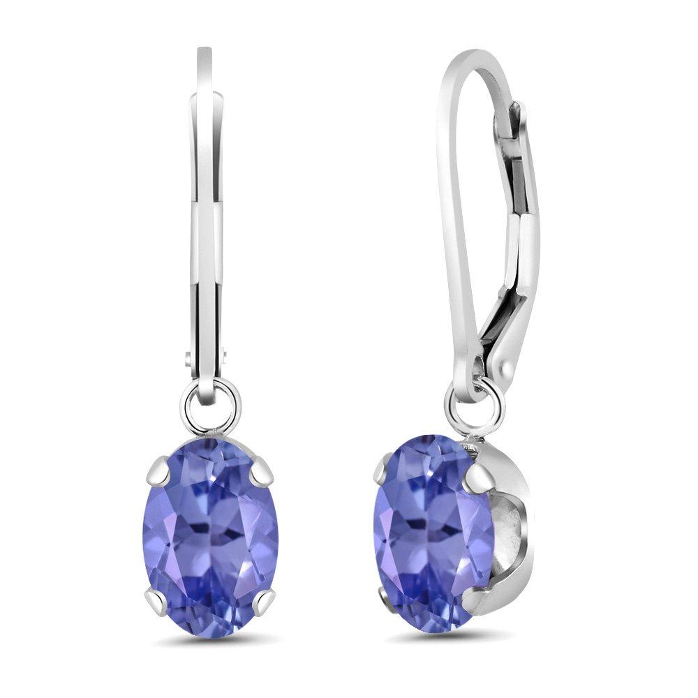 2.32 Ct Oval Blue Tanzanite 925 Sterling Silver Earrings