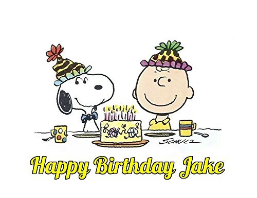 Charlie Brown Peanuts Snoopy Edible Image Photo Cake Topper Sheet Personalized Custom Customized Birthday Party - 1/4 Sheet - 74204 ()