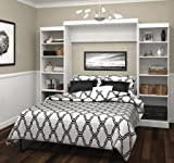 """Bestar Furniture 26883-17 Pur 115"""" Queen Wall Bed Kit Including Ten Shelves with Adjustable Shelves in"""