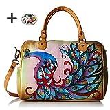 Anna By Anuschka Satchel Handbag & Purse Holder (ZipAround Royal Peacock)