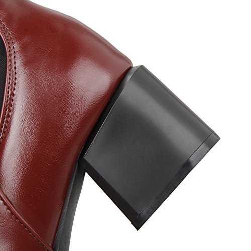 AdeeSu Womens Chunky Heels Metal Ornament Winkle Pinker Imitated Leather Boots Red YaVttME