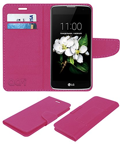 acm leather Flip Cover wallet case compatible with lg k7 mobile cover pink