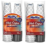 Disposable Hot Cups with Lids, 16 Ounce, 20 Count (Pack of 2), New