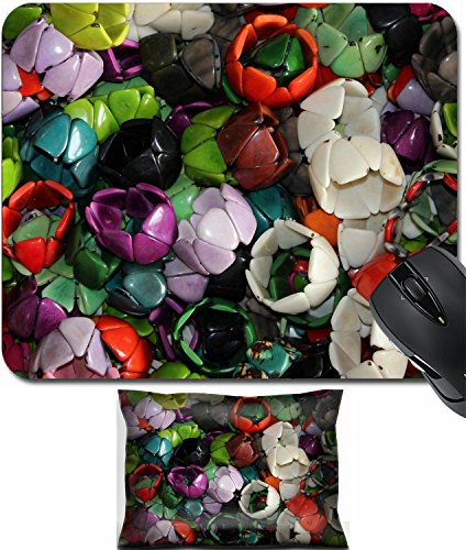 (MSD Mouse Wrist Rest and Small Mousepad Set, 2pc Wrist Support design 29806795 Handmade Tagua Nut bracelets in a variety of colors for sale at the outdoor craft market in Otavalo Ecuador)