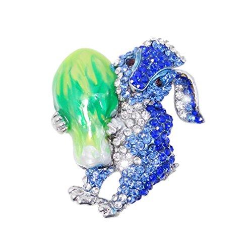 EVER FAITH® Silver-Tone Easter Bunny Hugging Cabbage Brooch Enamel Blue Austrian Crystal